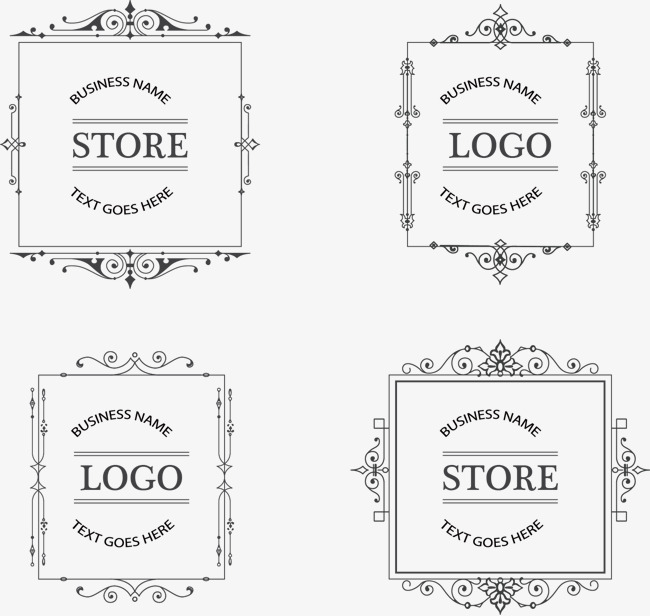 650x616 Four Hand Painted Pattern Vector Decorative Borders, Pattern