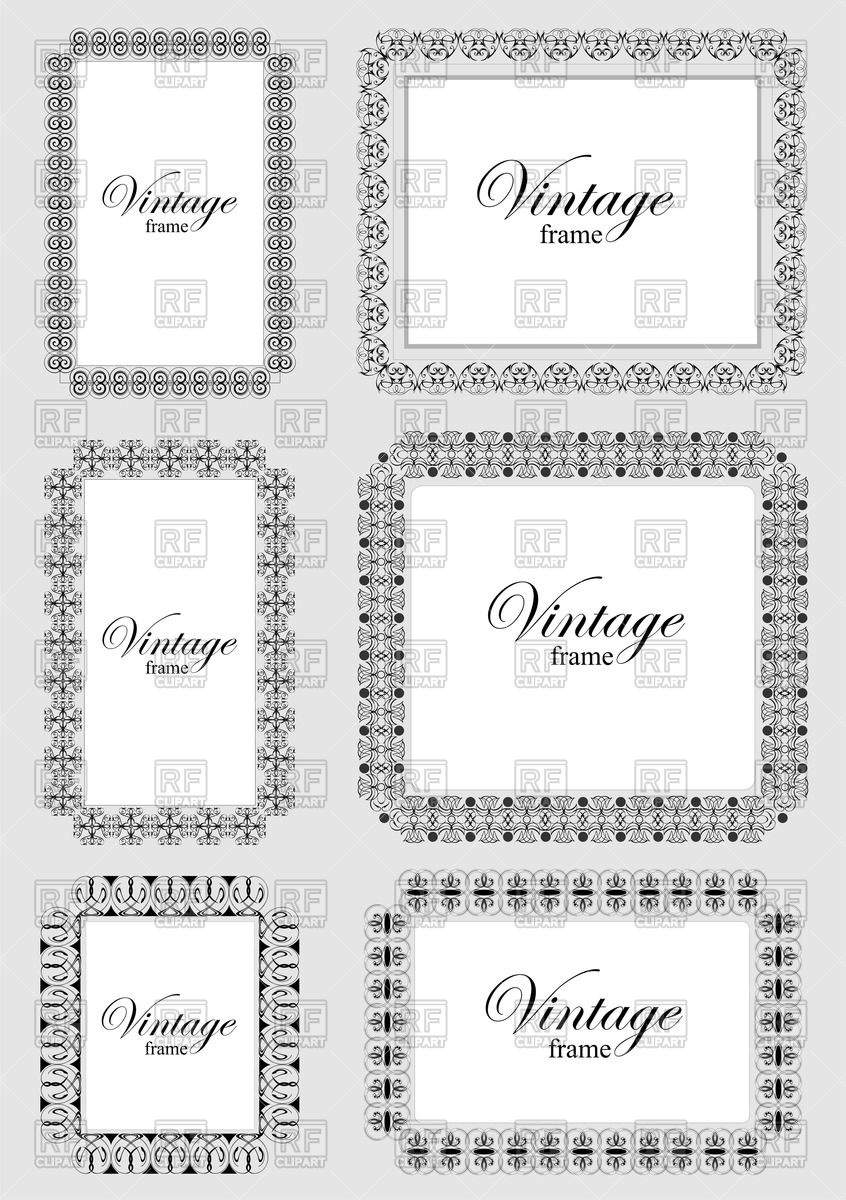 846x1200 Collection Of Ornate Square Frames With Decorative Border Vector