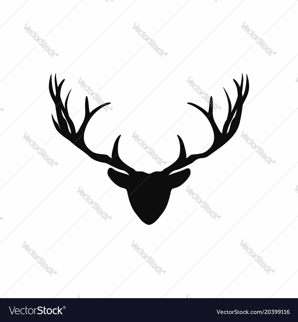1000x1080 Cheery Deer Head Antlers Silhouette Black Royalty Free Vector Deer