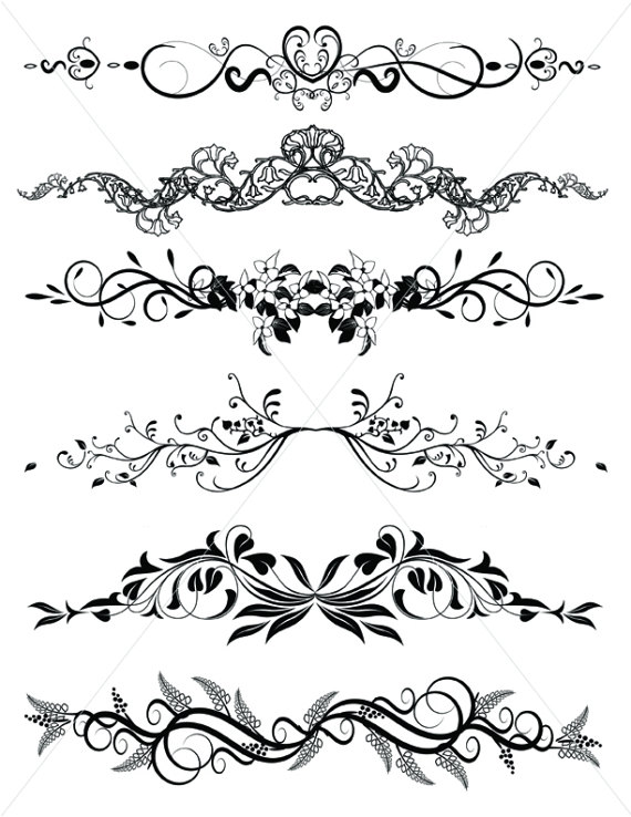 570x738 Flourishes, Svg Dividers Lines, Ornamental Borders, Scalabe Vector