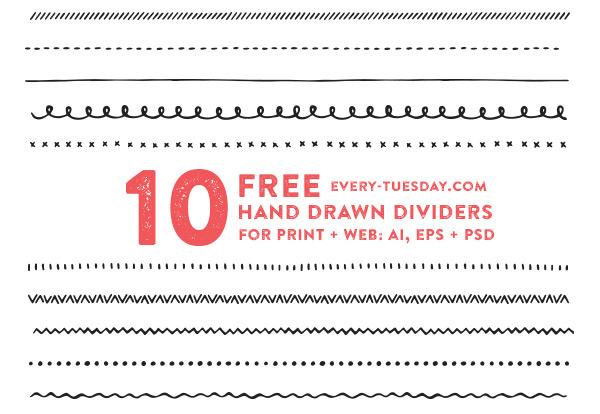 600x414 Freebie Hand Drawn Vector Dividers