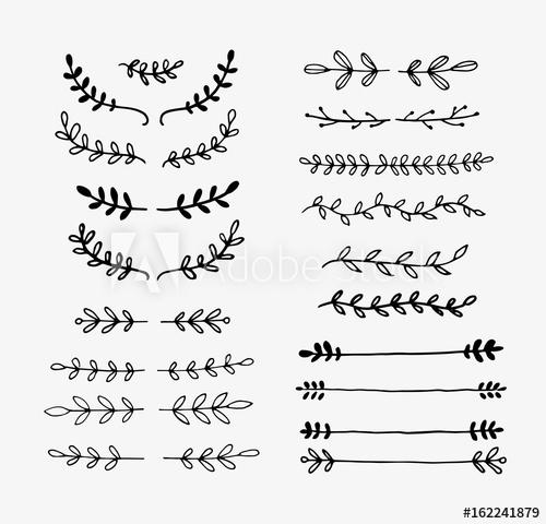 500x480 Hand Drawn Vector Dividers. Lines, Borders And Laurels Set. Doodle
