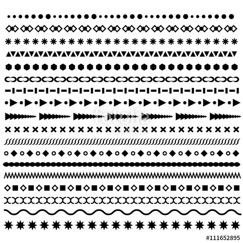 500x500 Line Borders Set. Geometric Dotted Vector Dividers. Horizontal