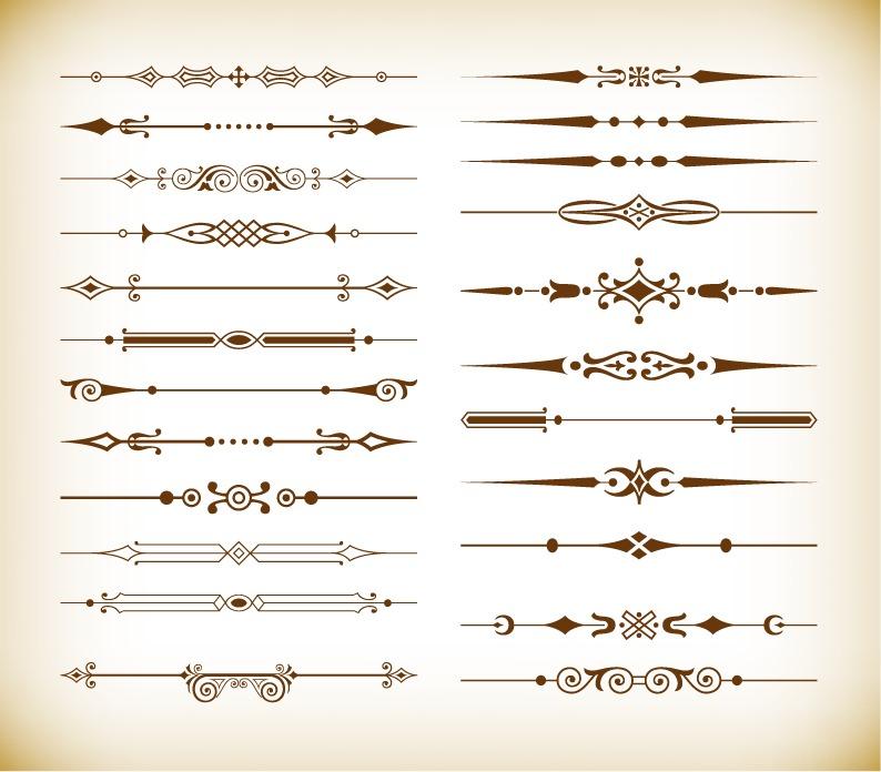 794x696 Vector Set Of Vintage Design Divider Elements Free Vector