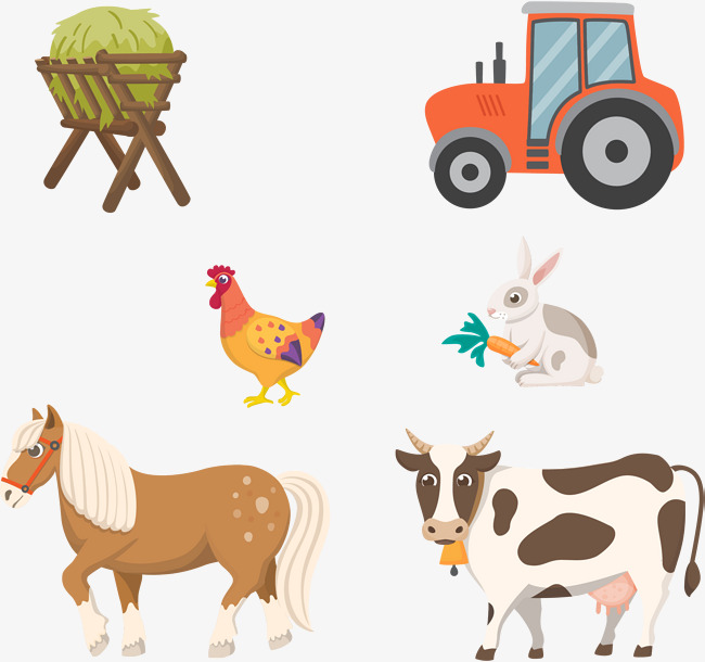 650x610 Vector Farm Animals, Tractor, Livestock, Animal Png And Vector For