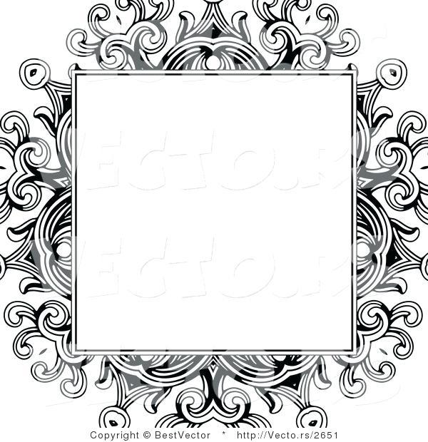 600x620 Floral Design Border Vector Of Formal Blank Box Over A Black