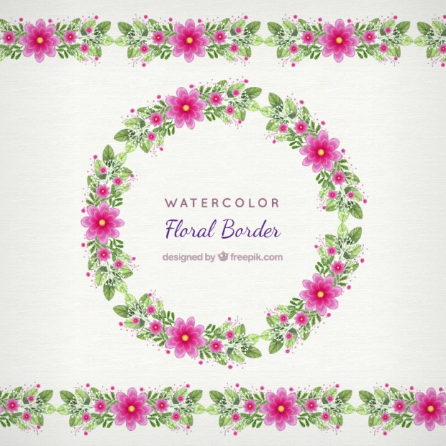 626x626 Floral Border Decoration In Hand Painted Style Vector Free Download