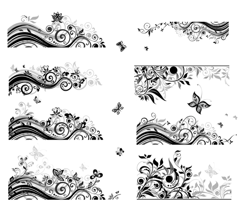 500x433 Floral Border With Butterflies Design Vector Free Download