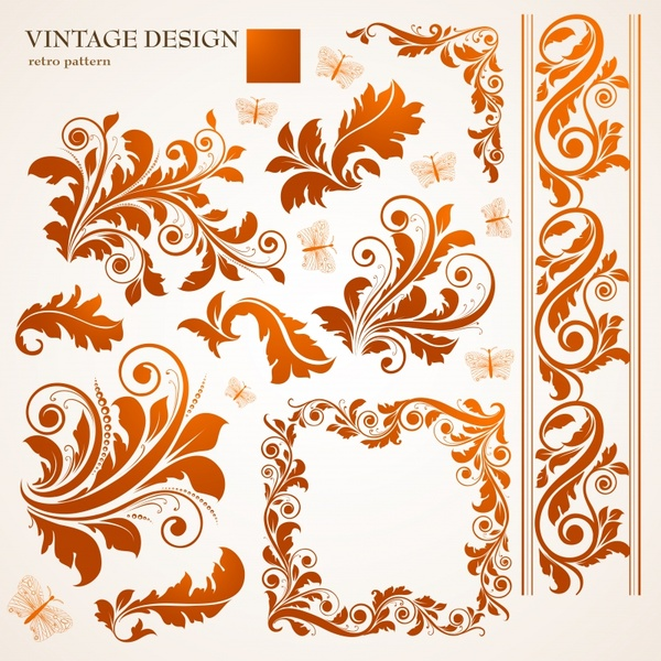 600x600 Border Design Elements Feather Floral Icons Classical Curves Free