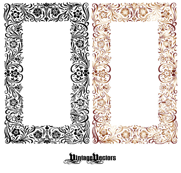 600x573 Massive Collection Of Vintage Vector Graphics Floral Borders