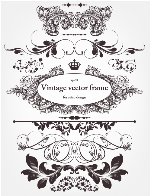 500x651 Europeanstyle Floral Border And Decorations 01 Vector Free Vector