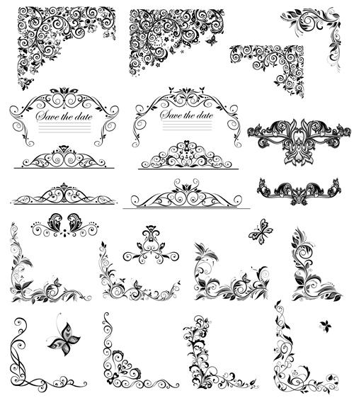 500x562 Wedding Card Border Vector Free Download New Floral Ornaments