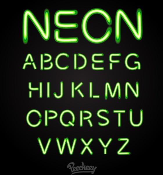 561x600 Green Neon Font Free Vector In Adobe Illustrator Ai ( .ai ) Vector