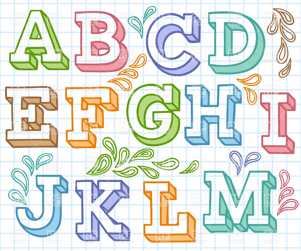 1000x832 Multi Colored Hand Drawn Font With Decorations Vector Image