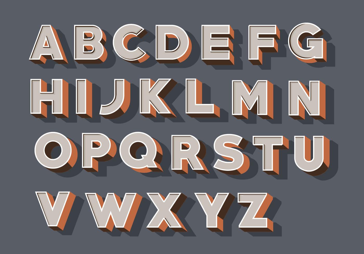 1400x980 3d Fonts Free Vector Art