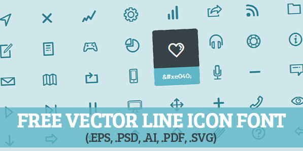 597x298 Vector Line Icon Font (Psd, Illustrator, Webfont) Fonts
