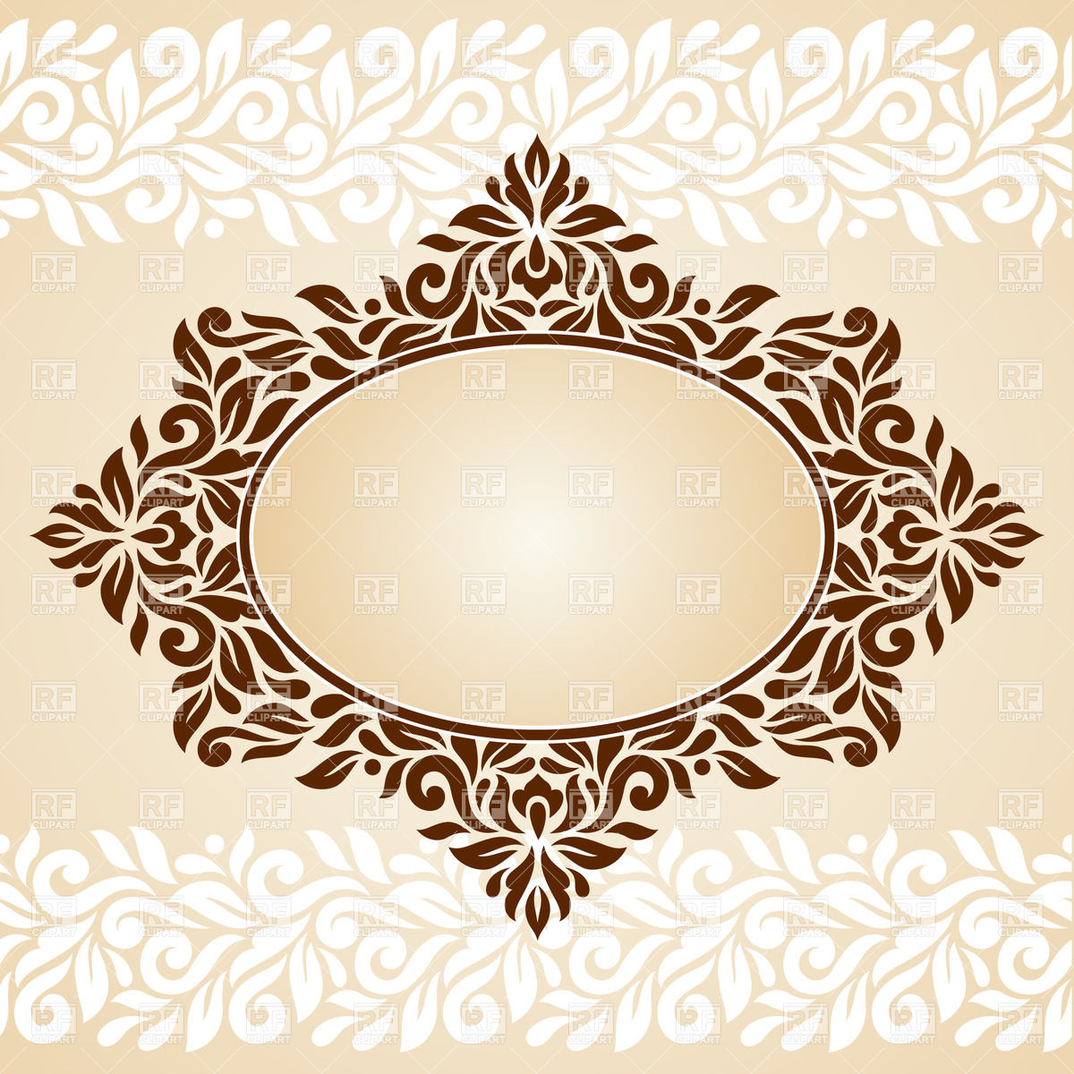 1200x1200 Oval Retro Frame With Horizontal Borders Vector Image Vector