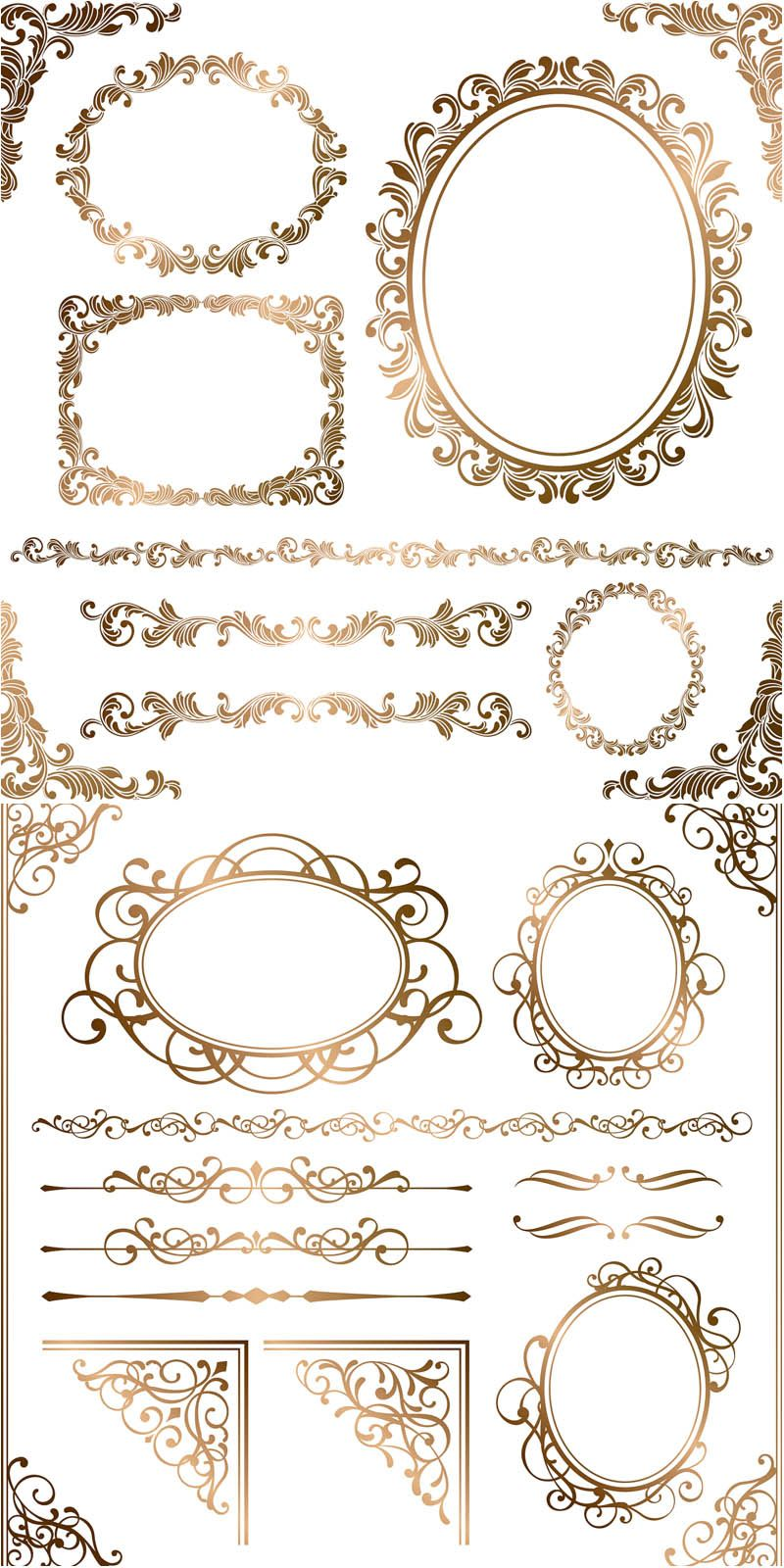 800x1600 Baroque Floral Frames, Corners And Borders Vector...ton More Free