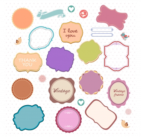 468x454 Decorative Frames Collection With Various Colored Shapes Vectors