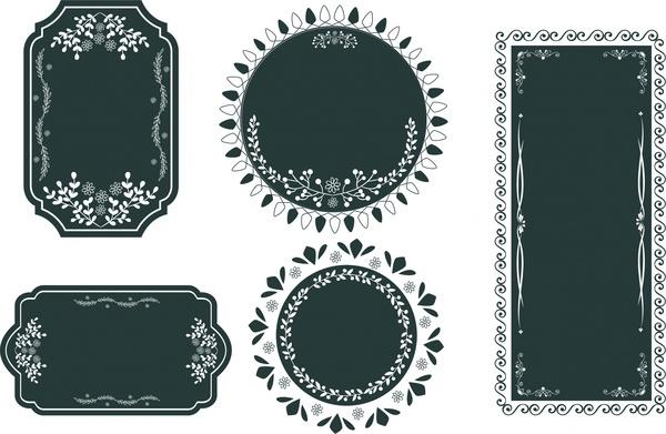 600x391 Vintage Frames Design Various Shapes In Dark Color Free Vector In