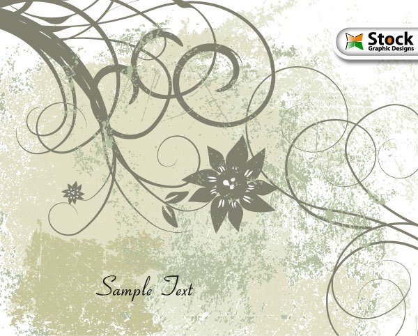 600x482 Free Vector Grunge Floral Background Vector Amp Photoshop Brushes