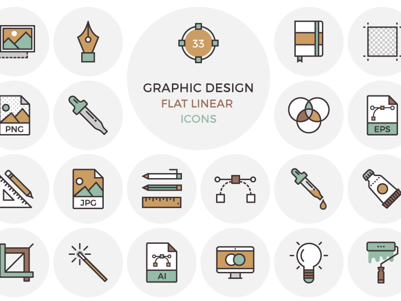 800x600 33 Flat Graphic Design Icons By Inspirationfeed