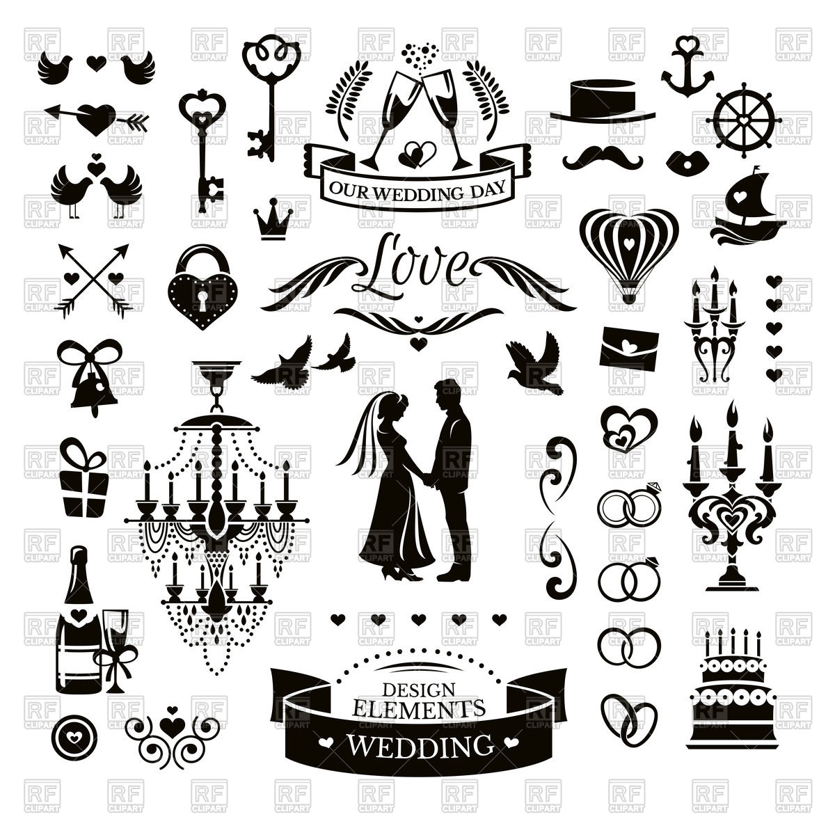 1200x1200 Wedding Icons And Design Elements Vector Image Vector Artwork Of