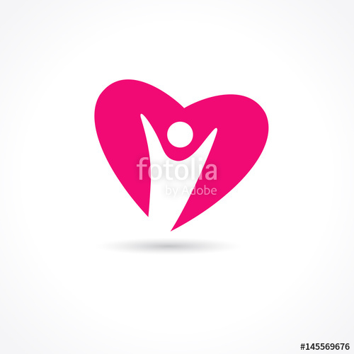 500x500 Heart Care Logo. Healthcare Amp Medical Symbol With Vector Heart