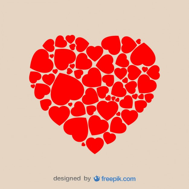 626x626 Heart Shape Made Of Hearts Vector Free Download