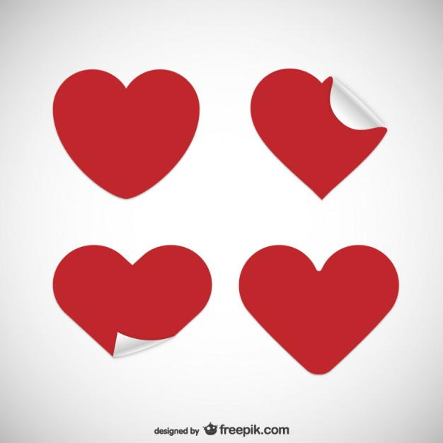 626x626 Heart Shaped Stickers Vector Free Download