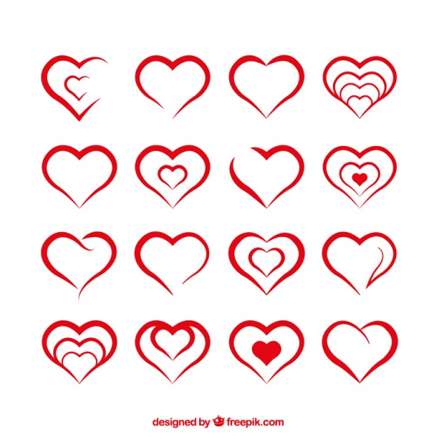 626x626 Heart Shapes Vector Free Download