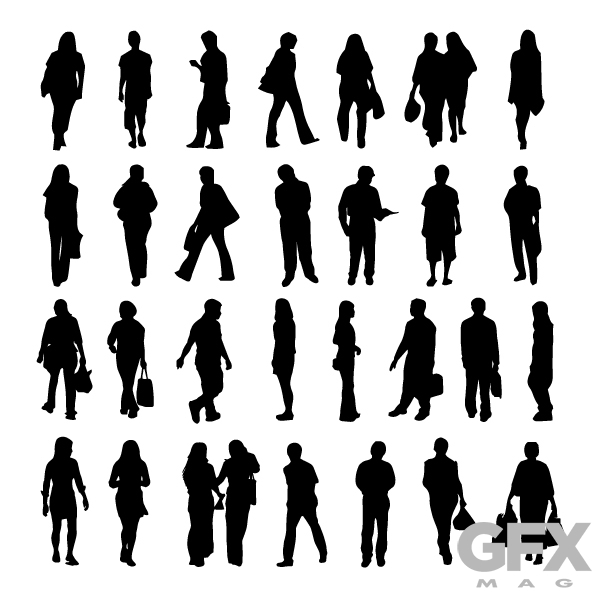 600x600 Free Vector People Silhouette Cut Out Casual Business Free