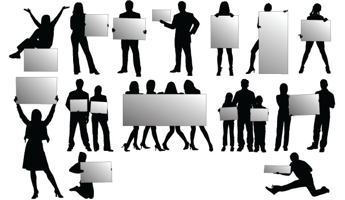 680x395 People Holding Signs Vector Vectorish