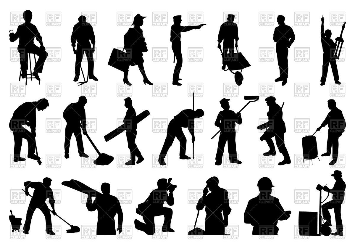 1200x831 Silhouettes Of Working People Vector Image Vector Artwork Of