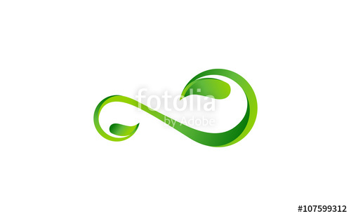 500x308 Infinity Leaf Plant Logo, Leaves Infinity Symbol Icon Vector