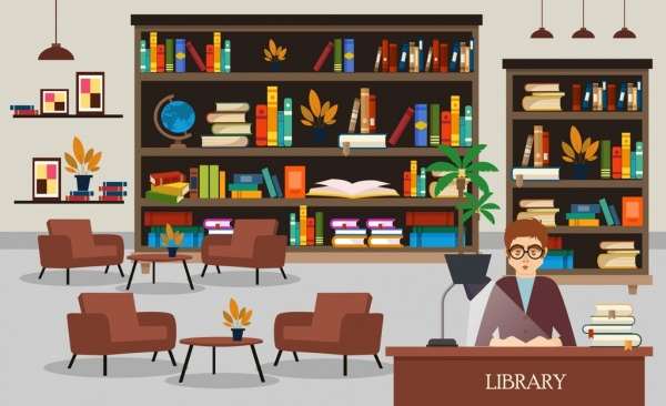 600x366 Library Drawing Bookshelves Librarian Chairs Icons Free Vector In