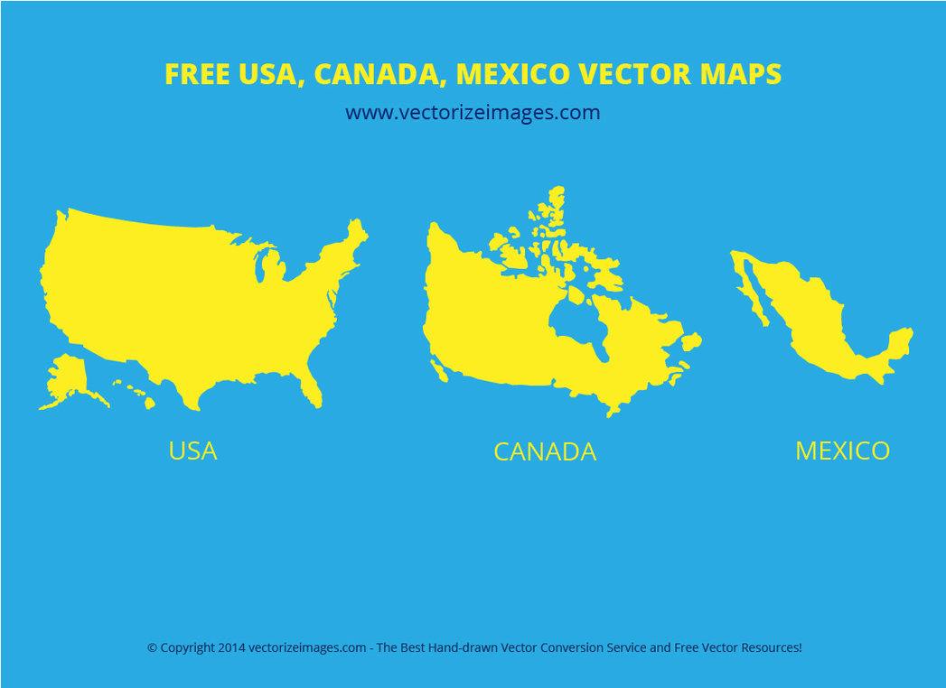 1047x762 Free Usa Canada Mexico Vector Maps By Alsusart