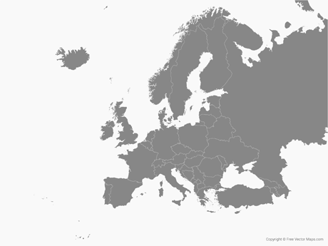 460x345 Vector Map Of Europe With Countries