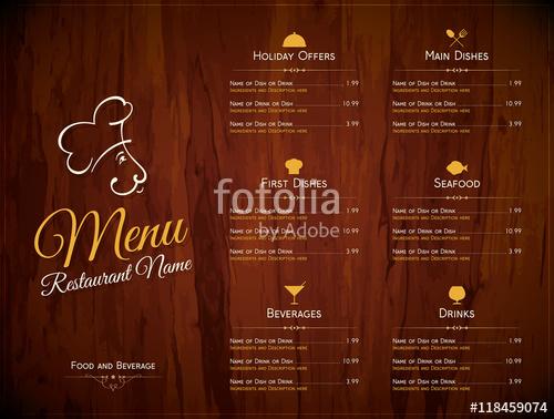 500x378 Restaurant Menu Design. Vector Menu Brochure Template For Cafe