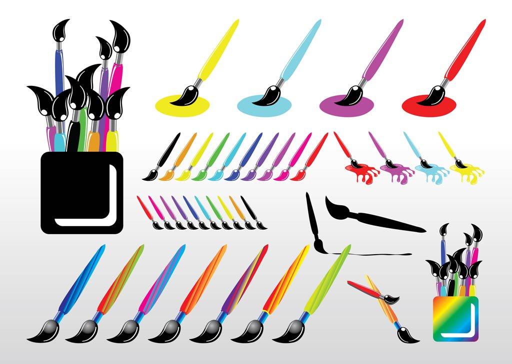 1024x729 Paint Brush Set Vector Art Amp Graphics