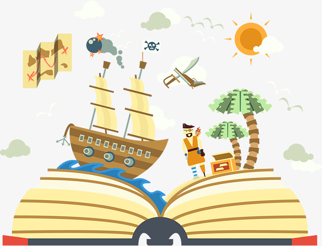 650x498 Book Of Pirate World Illustration Vector, Pirate Ship, Bomb