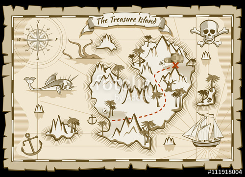 500x361 Treasure Pirate Hand Drawn Vector Map. Pirate Map With Ship And