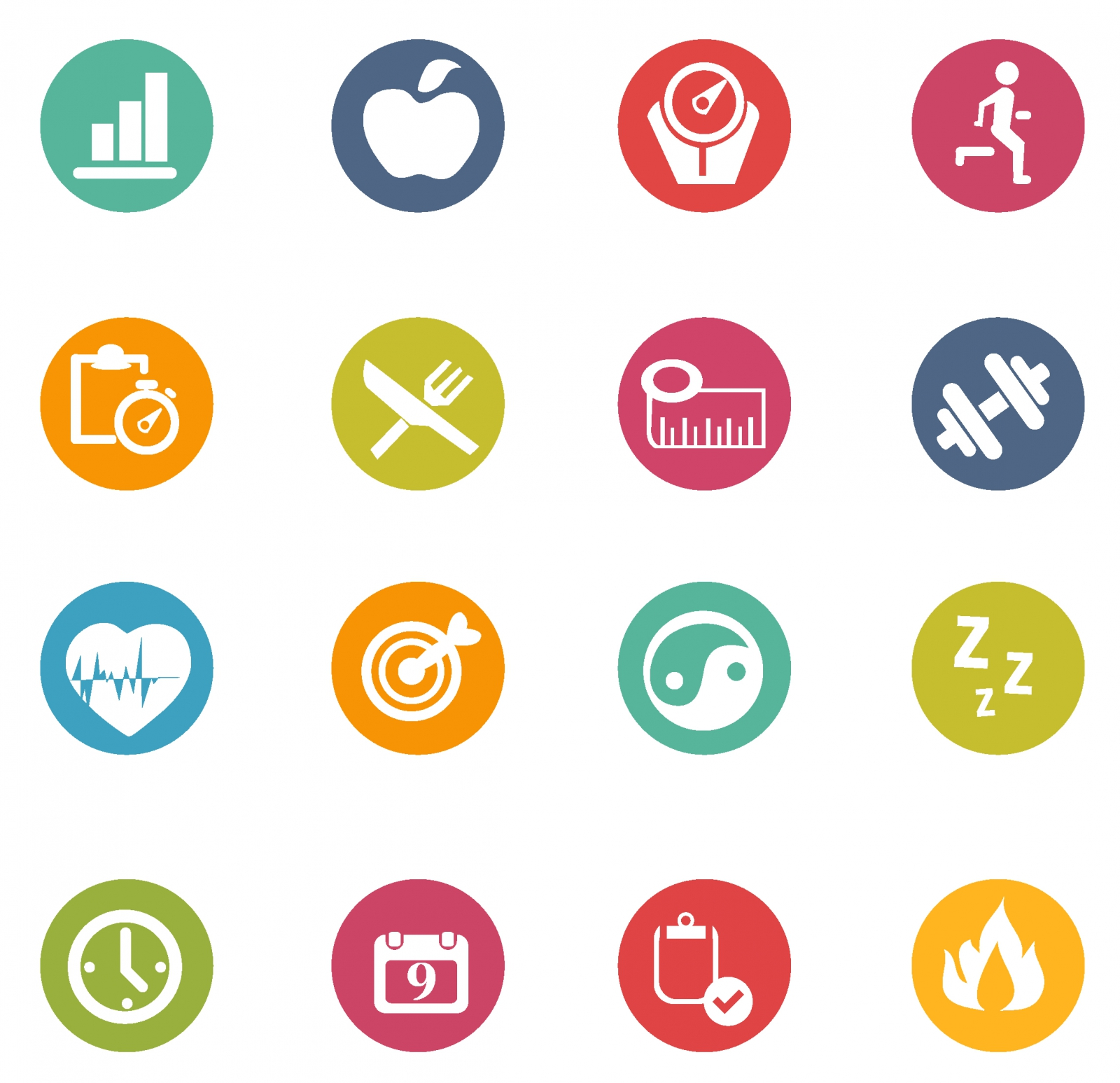 1600x1547 Free Vector Fitness Icons 132989 Fitness Icons