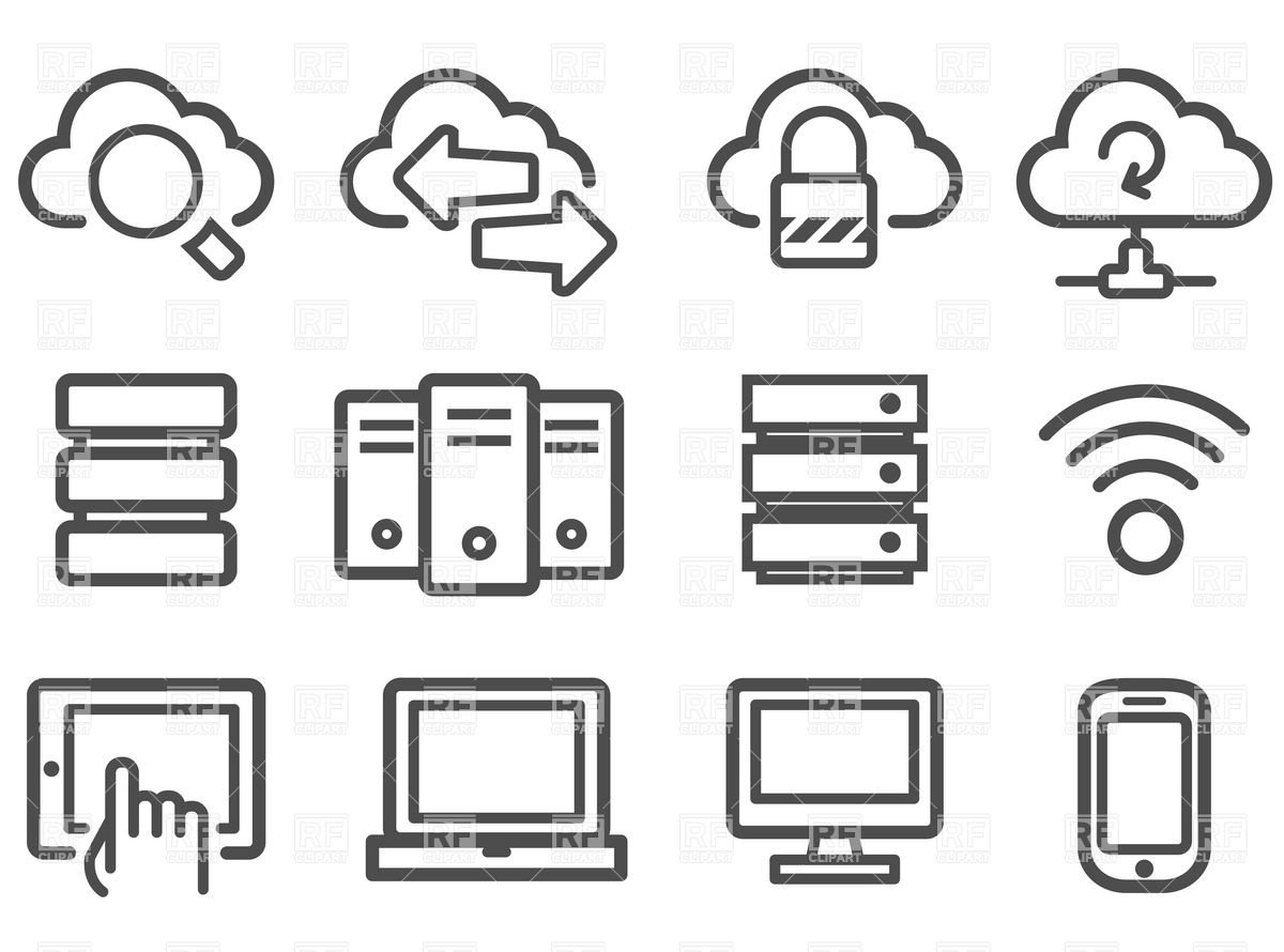 1200x890 Cloud Computing And Computer Network Icon Set Vector Image