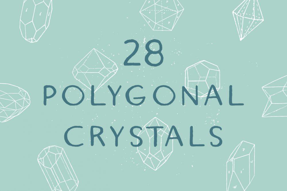 1000x666 28 Handrawn Polygonal Crystals