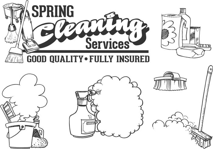 700x490 Free Vector Drawn Cleaning Service Vector Set