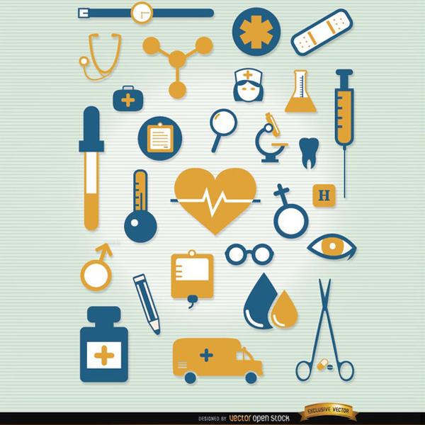 600x600 Hospital Icon Vector Set
