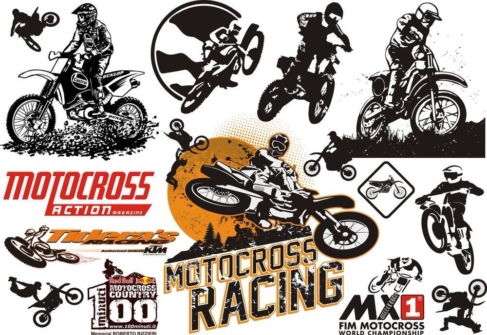 1000x688 Motocross Vector Set Free Vector Download