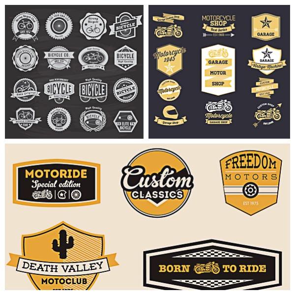 600x600 Motorcycle Retro Logo Vector Set Free Download