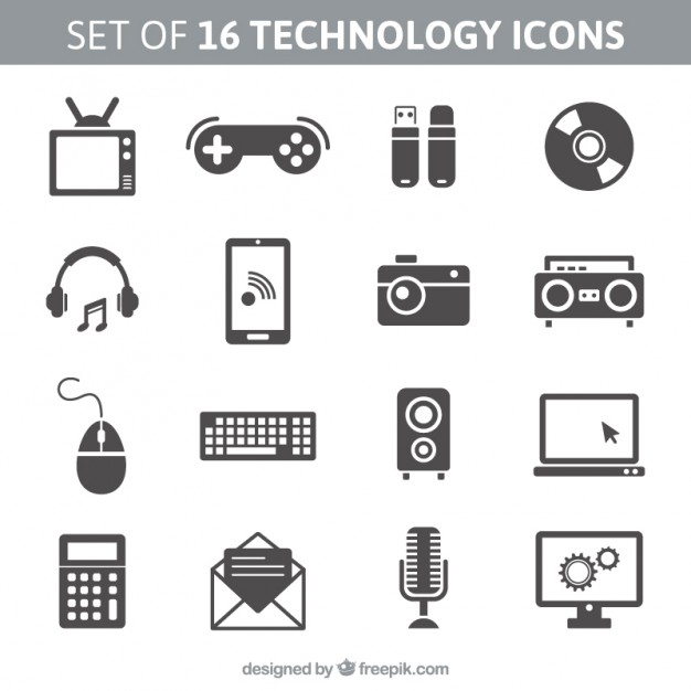 626x626 Set Of 16 Technology Icons Vector Free Download